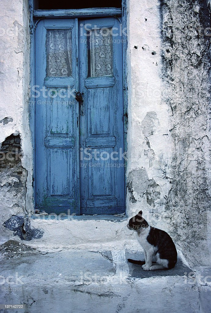 Cat on Step and Blue Door, Paros, Greece royalty-free stock photo