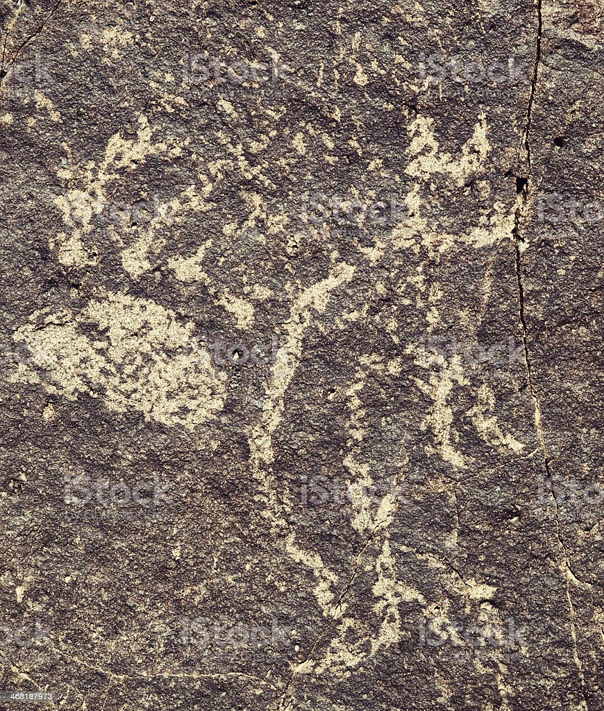 Cat Pictograph - Three Rivers Petroglyph Site royalty-free stock photo