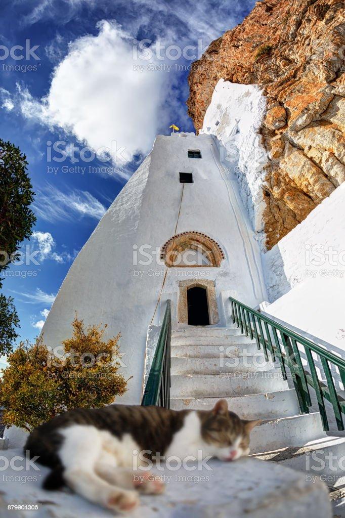 Cat sleeping at the entrance of the Hozoviotissa monastery in Amorgos island, Greece stock photo