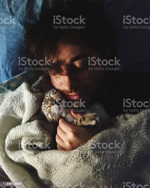 Cat sleeps with his owner picture id1188613669?b=1&k=6&m=1188613669&s=612x612&h=qxmi3uzlaplkyc1u3b2zg7cs1mbmod7oaeb2rgi5dwa=