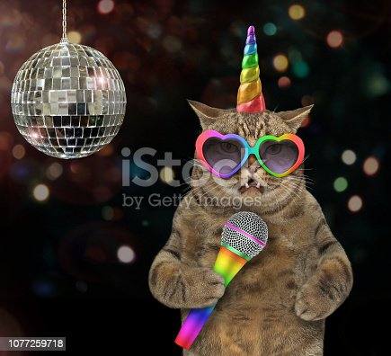 istock Cat unicorn singing a song at the stage 1077259718