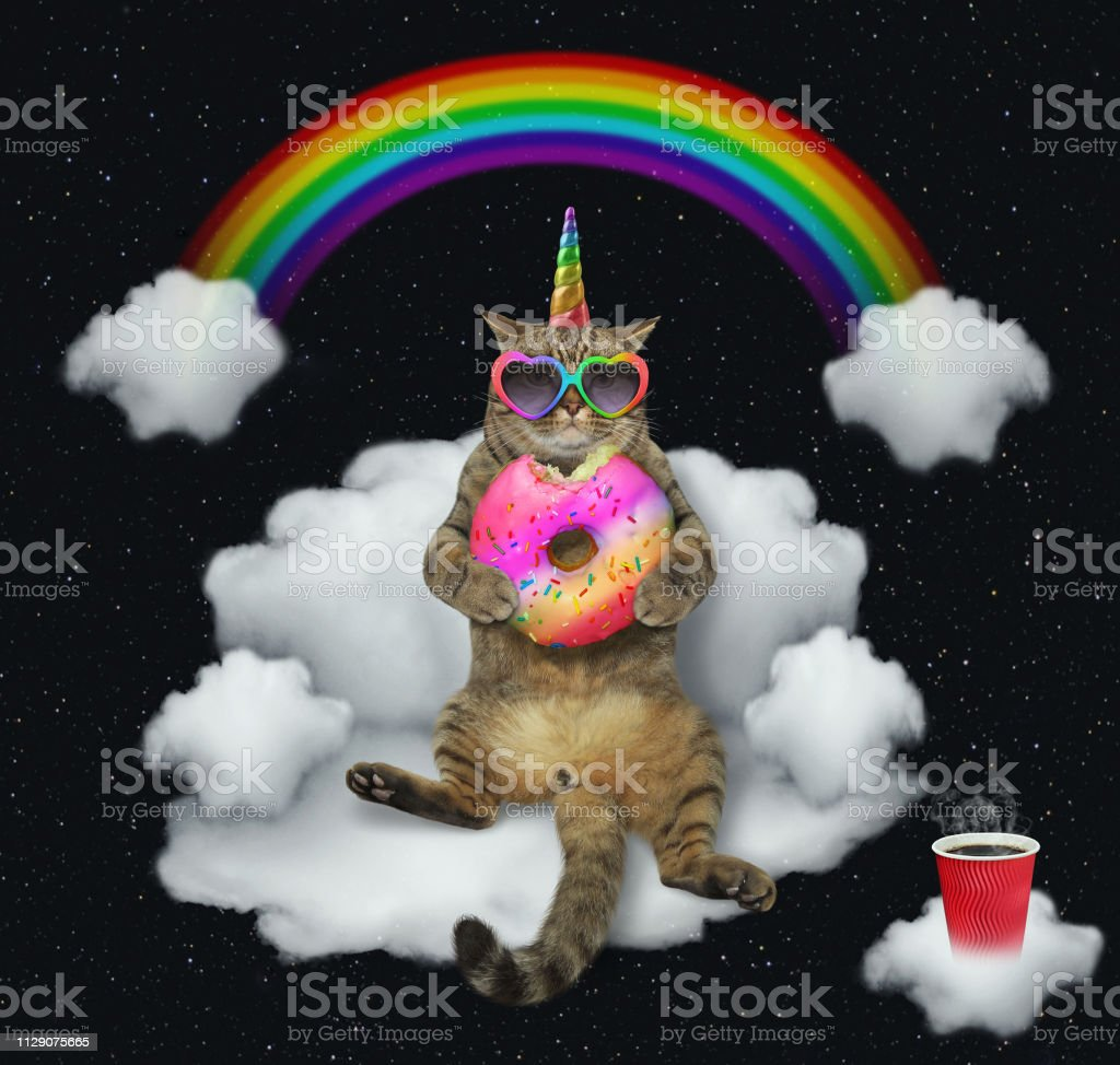 Cat unicorn with the color donut on a cloud 2 stock photo