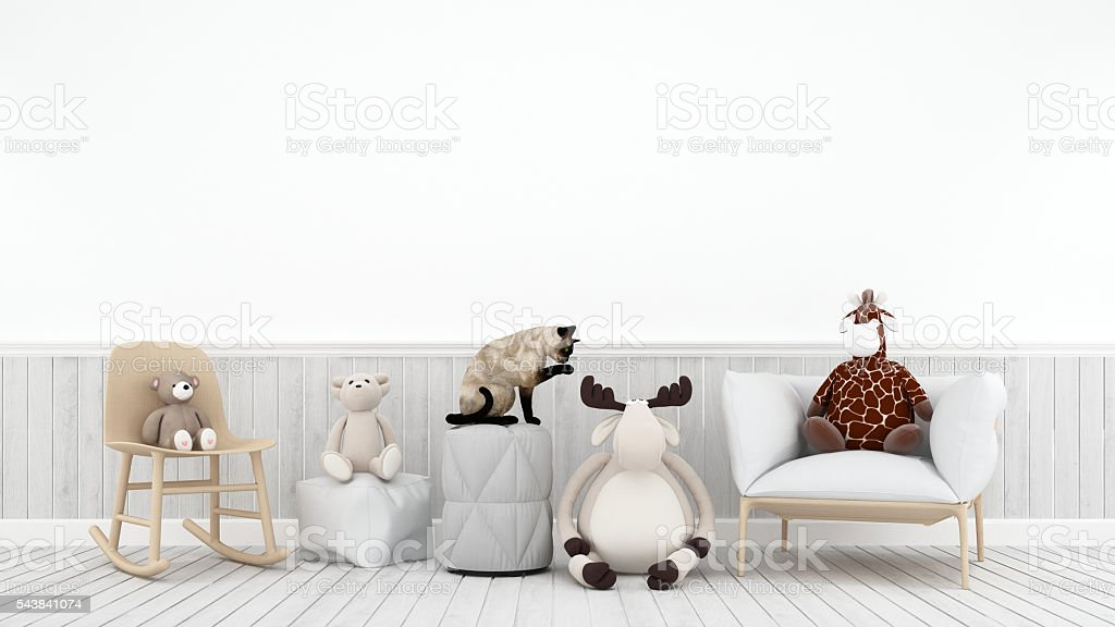 Cat with doll reindeer bear and giraffe- 3D rendering stock photo