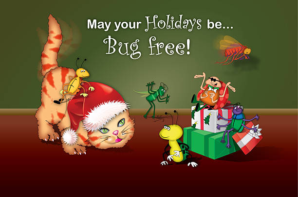 Cat with Santa Claus hat stalks bugs Cat with Santa Claus hat stalks bugs computer bug stock pictures, royalty-free photos & images