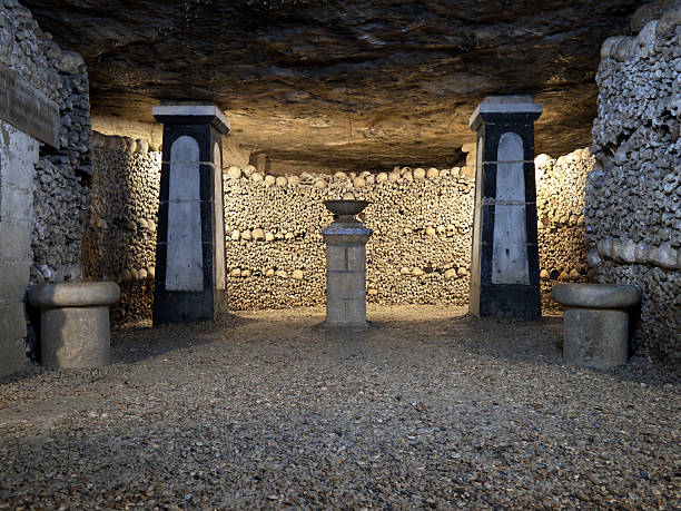Catacombs burials of Paris France stock photo