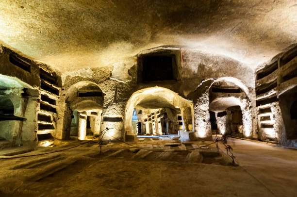 Catacombs of San Gennaro in Naples, Italy stock photo