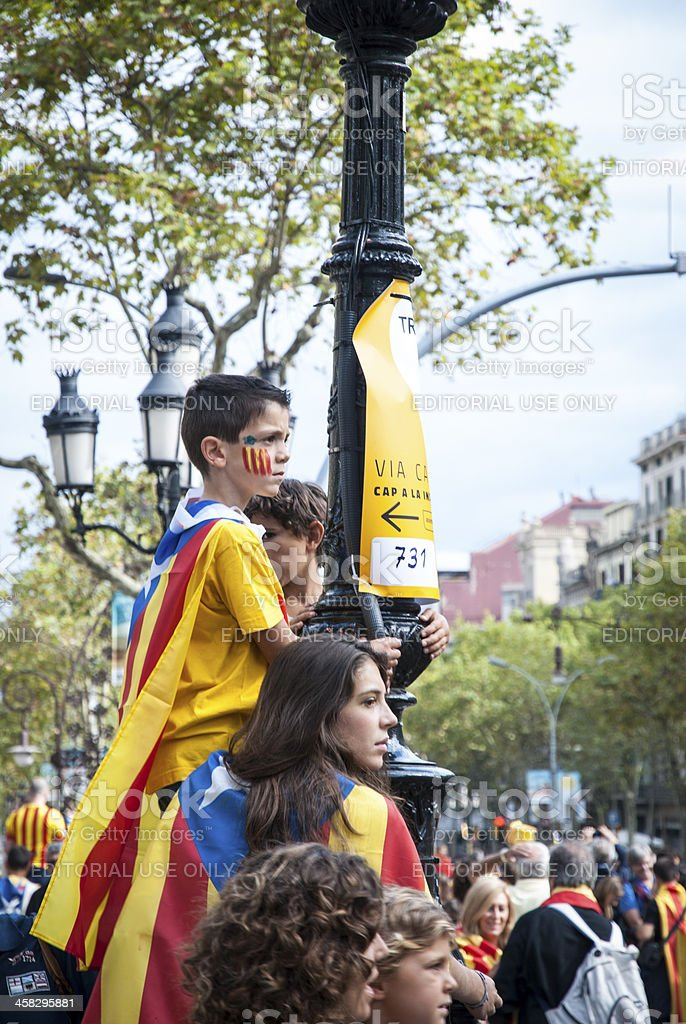 Catalan way, demanding the independence of Catalonia royalty-free stock photo