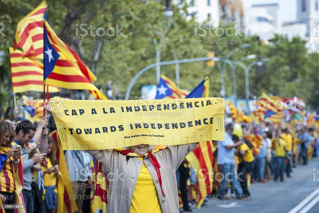 Catalan way, human chain for demanding the independence of Catalonia royalty-free stock photo
