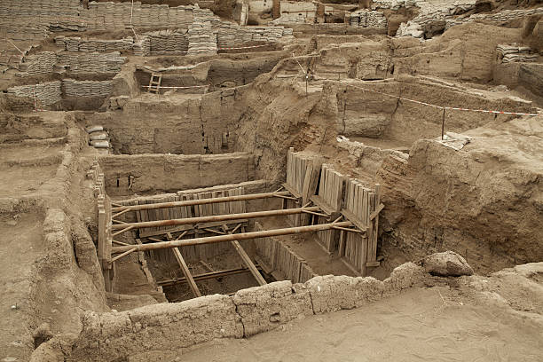 catalhoyuk Konya (Turkey). Built in 7500 B.C. stock photo