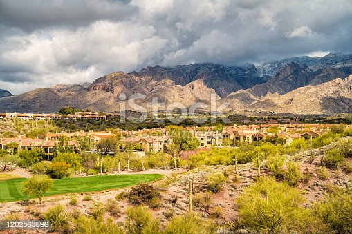 Stock photograph a residential district in the foothills of Santa Catalina Mountains, Tucson, USA.