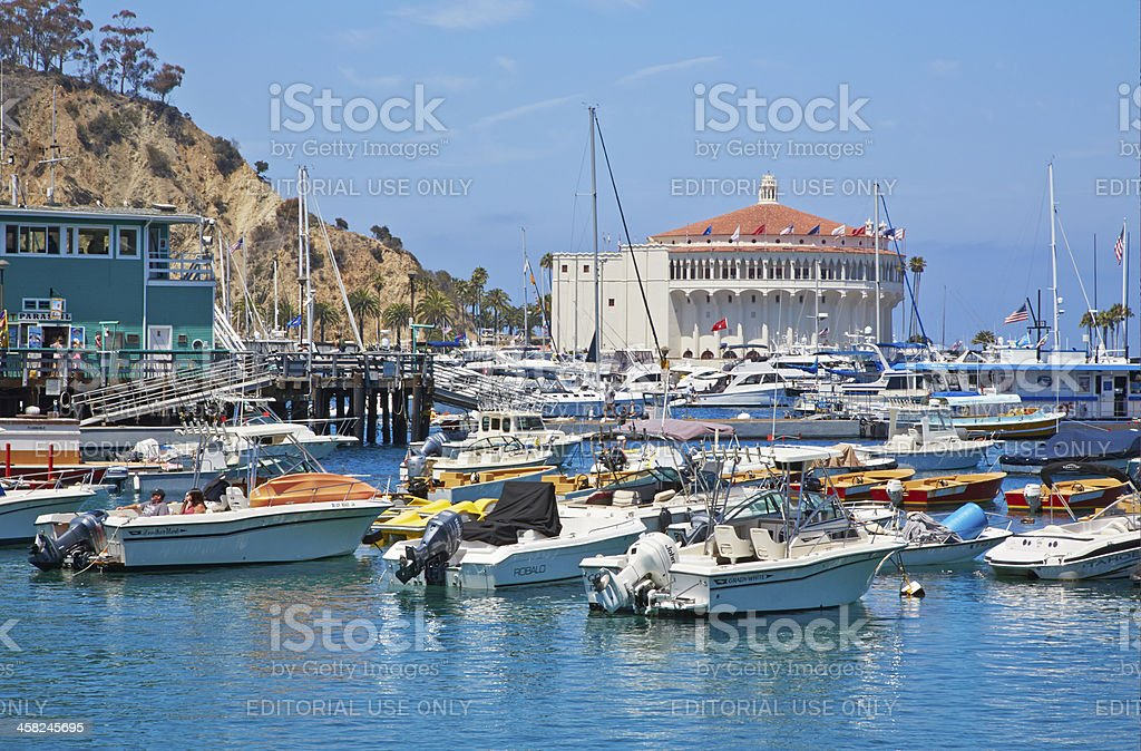 Catalina Island, Boats Moored in Avalon Harbor royalty-free stock photo