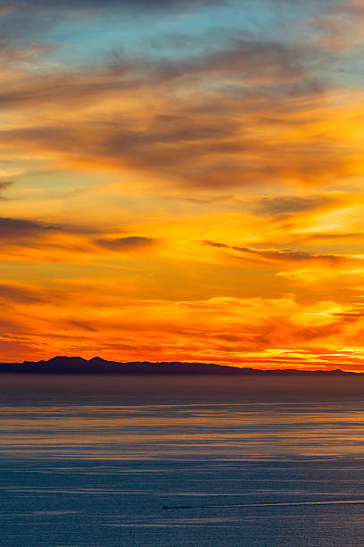 Catalina Island Sunset with Boat stock photo