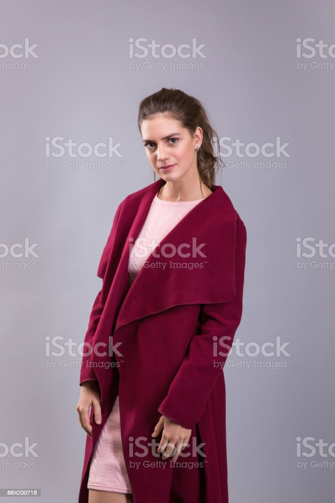 Catalog clothes style photo of young woman over grey background. Brunette model. royalty-free stock photo