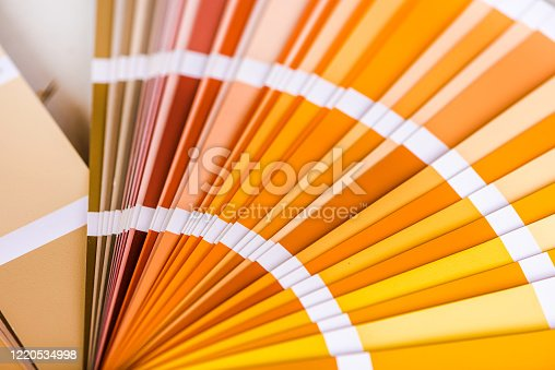 Catalogue of exterior plaster paint. Warm colors - yellow and orange gamma colours.