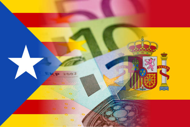 catalonia and spain flags with euro banknotes catalonia and spain flags with euro banknotes catalonia stock pictures, royalty-free photos & images