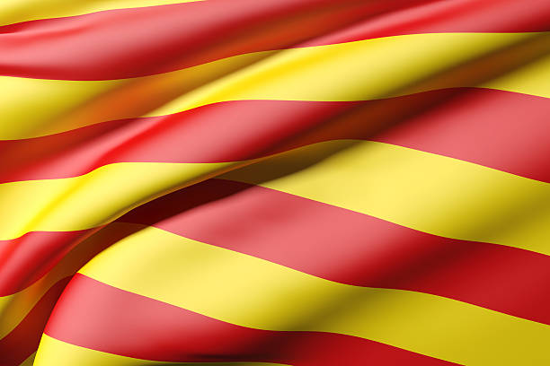 catalonia flag 3d rendering of a catalonia flag catalonia stock pictures, royalty-free photos & images