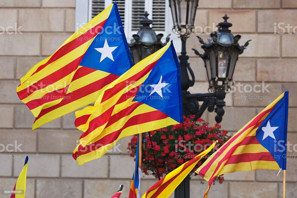 Catalonia flags royalty-free stock photo