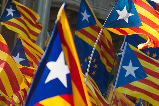 Catalonia independence flags Catalonia independence flags catalonia stock pictures, royalty-free photos & images