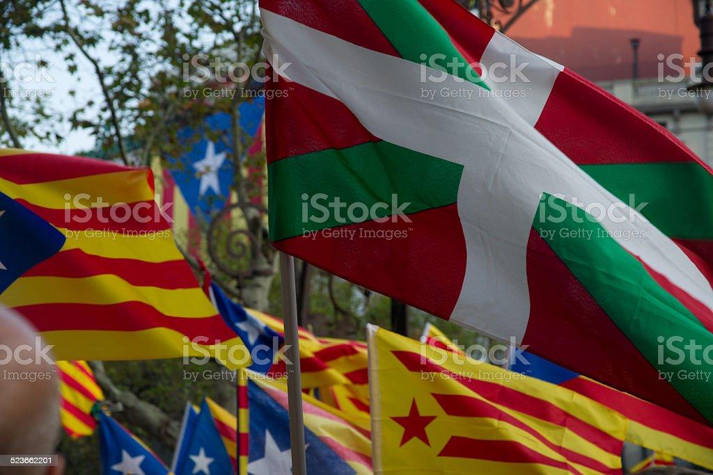Katalonien Republikanische Flagge und baskische Flagge Lizenzfreies stock-foto