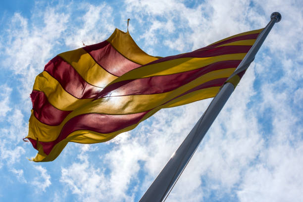 catalunya flag drapeau catalan catalonia stock pictures, royalty-free photos & images