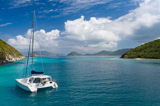 catamaran anchored by lovango cay, us virgin islands - katamaran bildbanksfoton och bilder