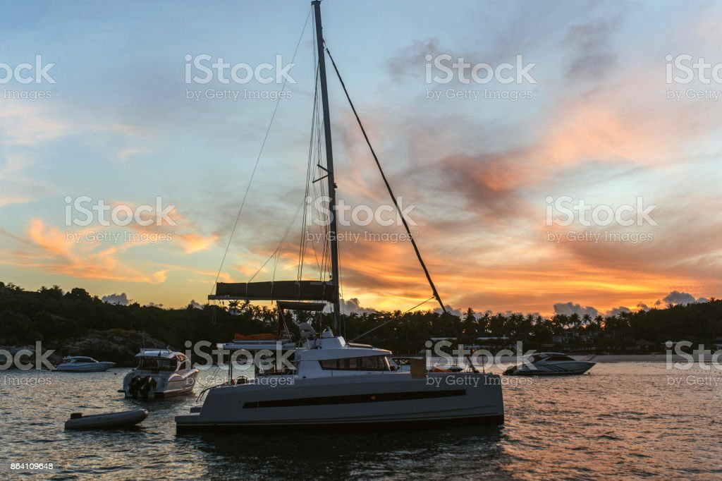 Catamaran at dawn royalty-free stock photo