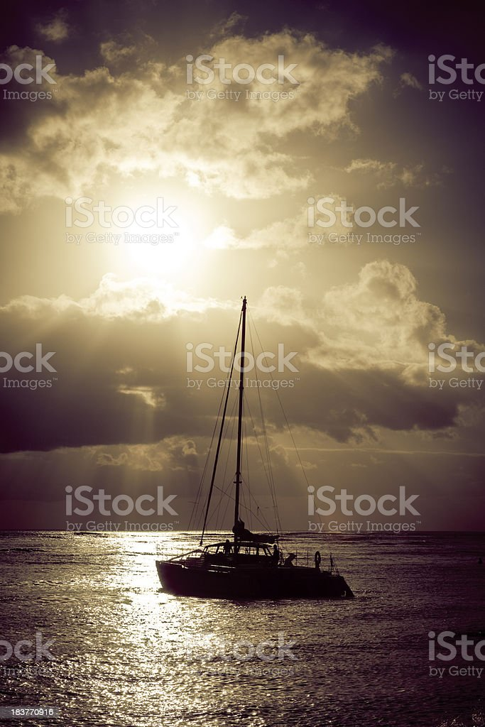 catamaran at sunset royalty-free stock photo