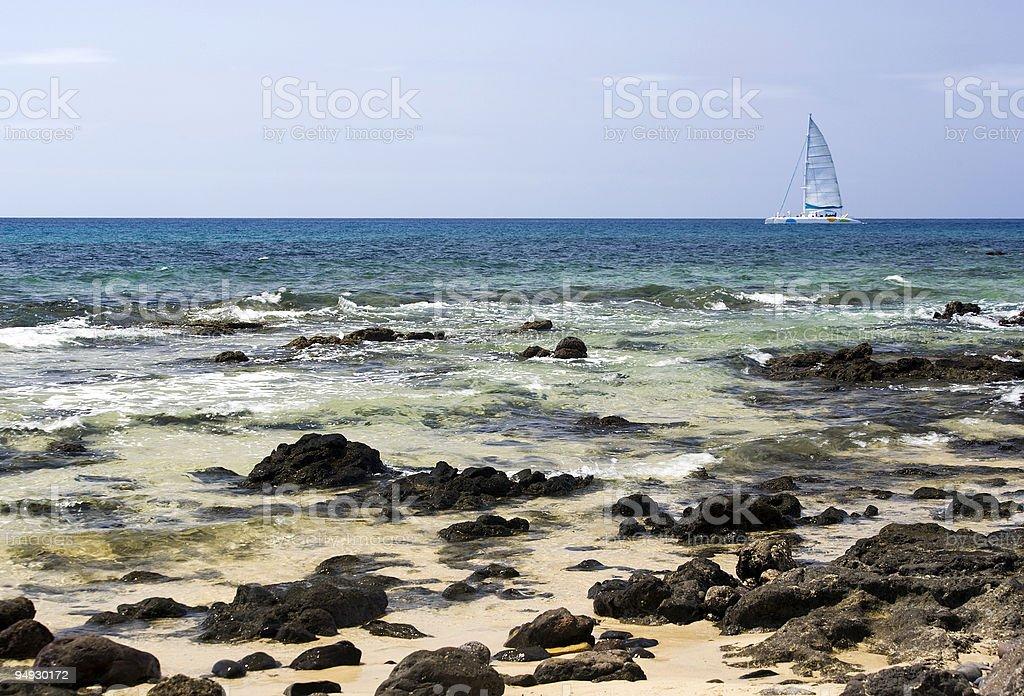 catamaran at the coast of lanzarote royalty-free stock photo