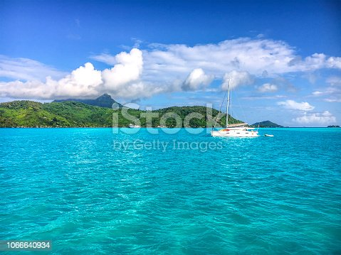 Beautiful morning in the lagoon at the island of Bora Bora. French Polynesia, South Pacific Ocean.