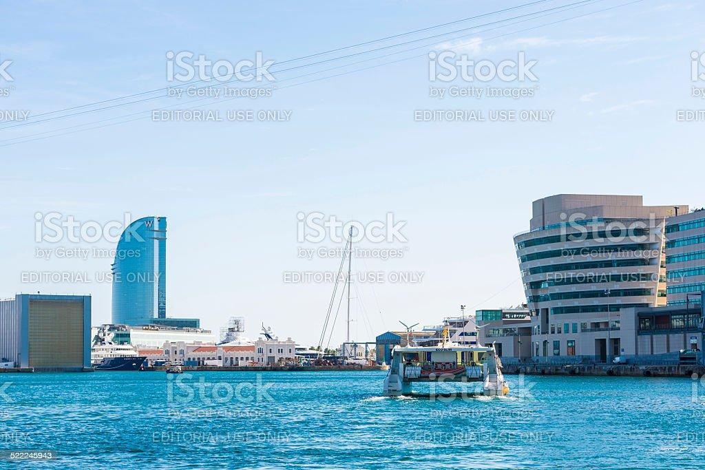 Catamaran in Port Vell, Barcelona stock photo