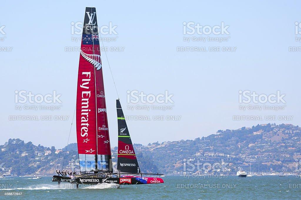 Catamaran New Zealand racing in Louis Vuitton Cup stock photo