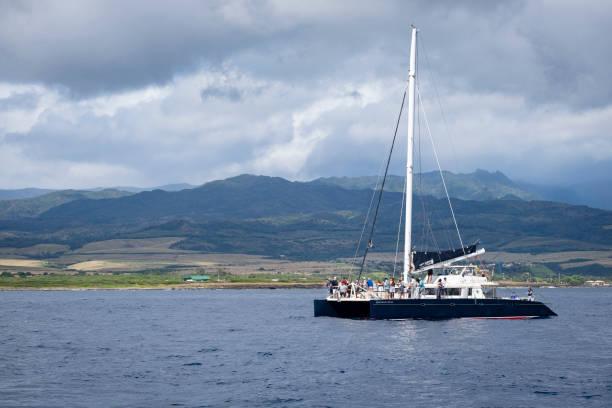 Catamaran of the Coast of Kauai stock photo