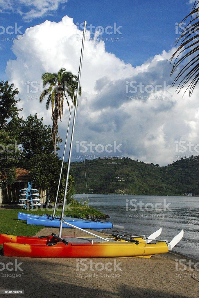 Catamaran on Lake Kivu beach Gisenyi Rwanda stock photo