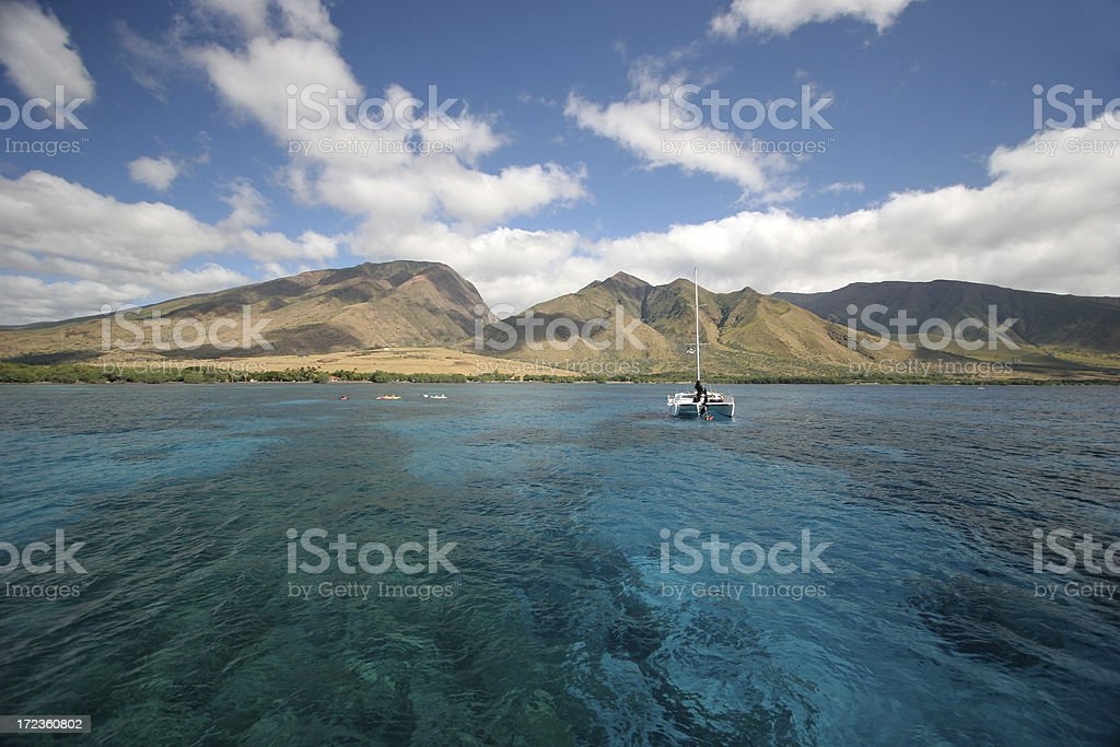 Catamaran Over Coral Reef royalty-free stock photo