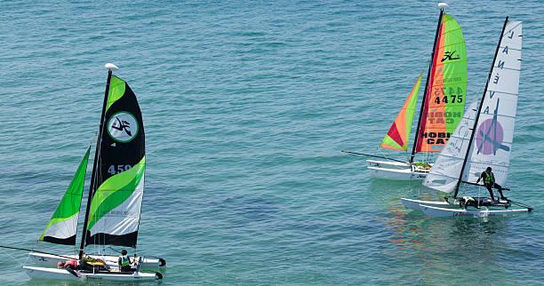 Catamaran Race at Saint Malo stock photo