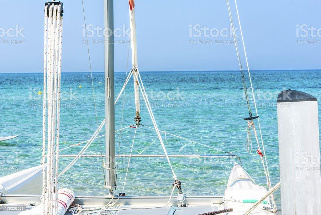 Catamaran sailboat stock photo