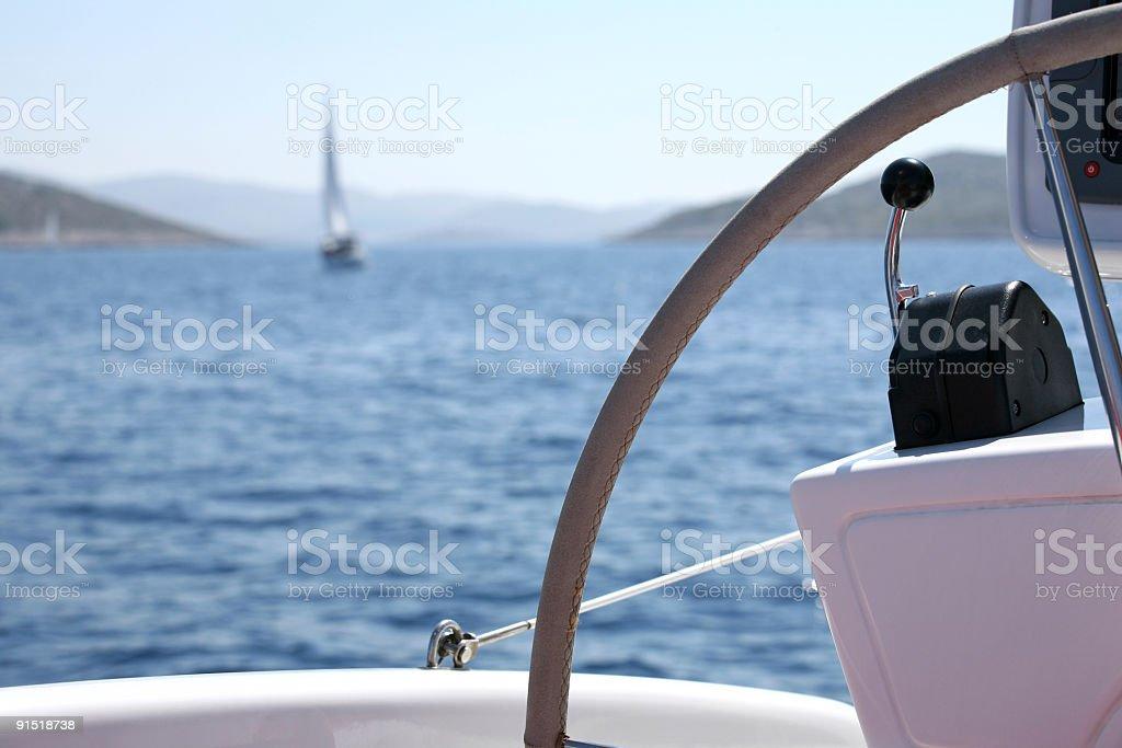 Catamaran sailing detail royalty-free stock photo