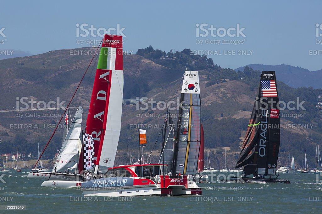 Catamaran team race during the america's cup world series stock photo