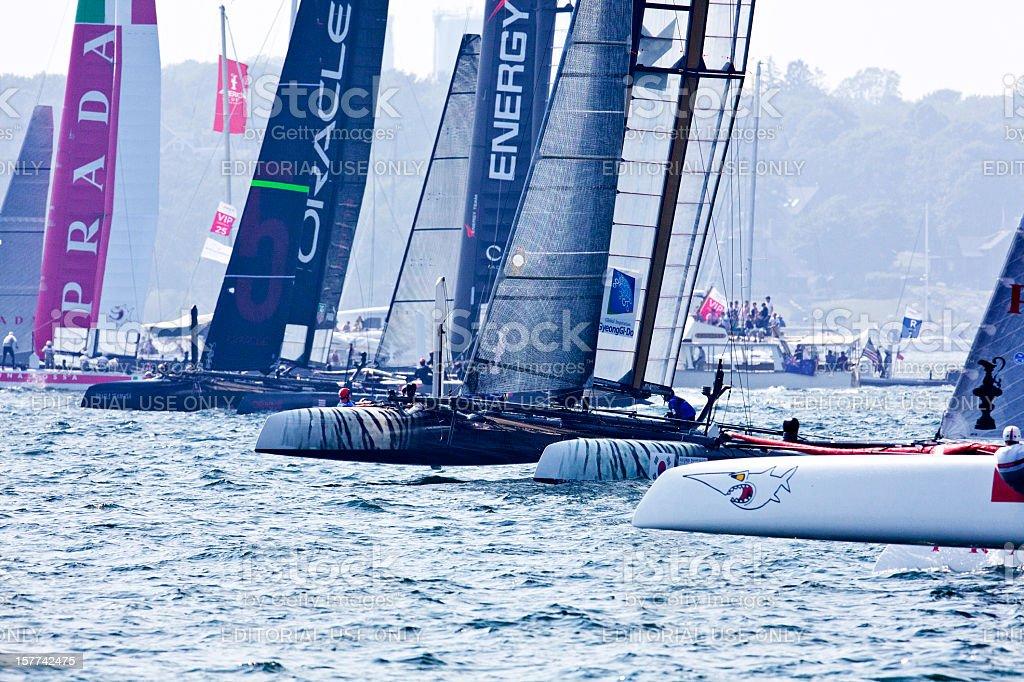 Catamaran Yacht Racing Start stock photo