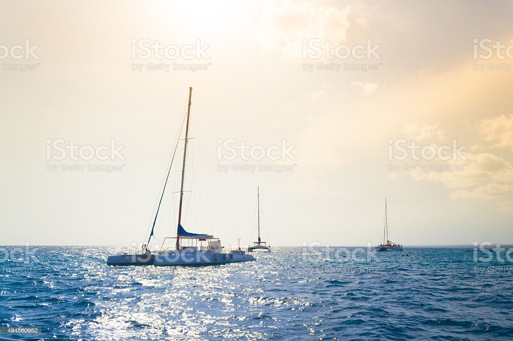 Catamarans cruising the sea stock photo