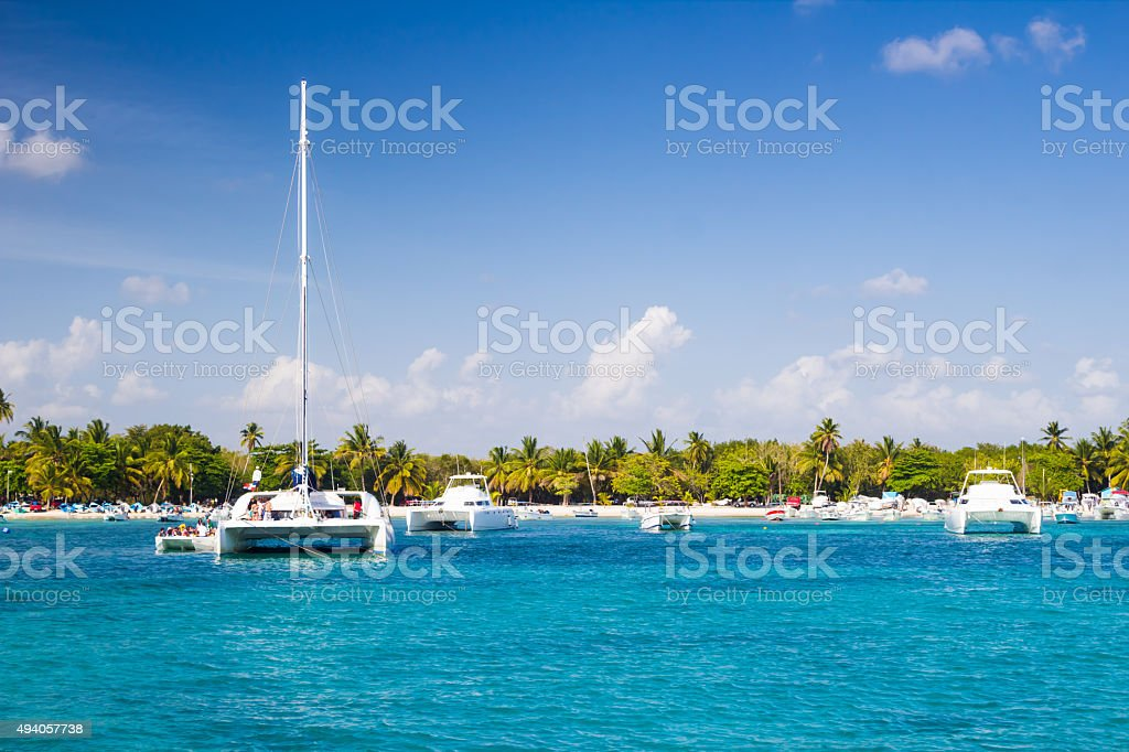 Catamarans in the harbor stock photo