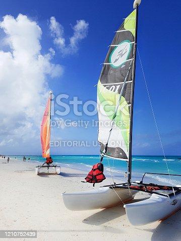 Cayo Santa Maria, Cuba - December 11,2019: Catamarans, landed on the white beach