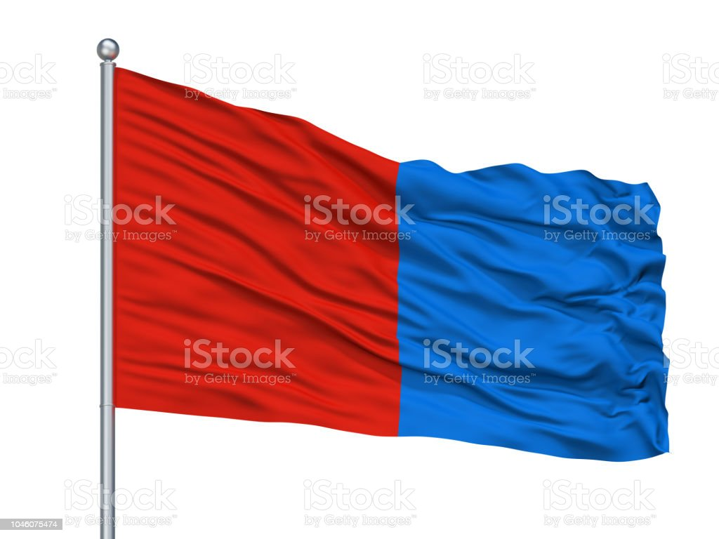 Catania City Flag On Flagpole, Italy, Isolated On White Background stock photo