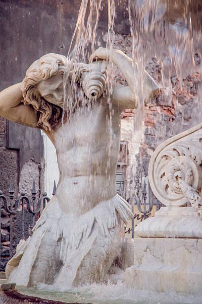Catania Duomo square fountain stock photo