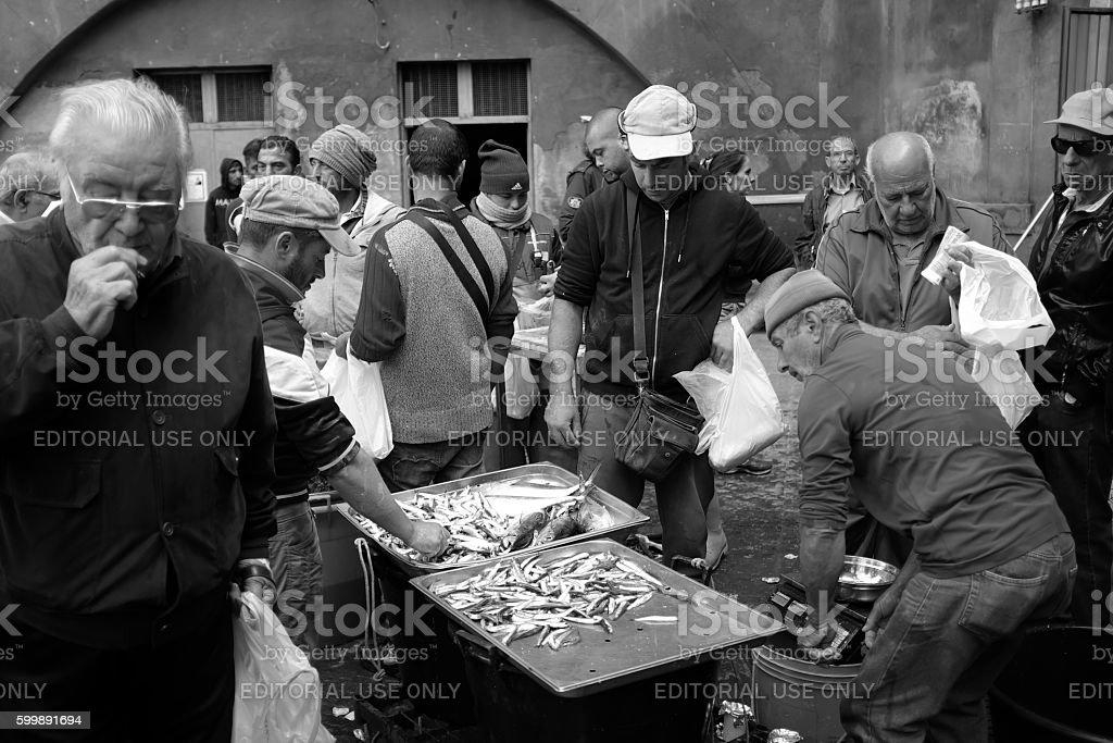 Catania  fish market. stock photo