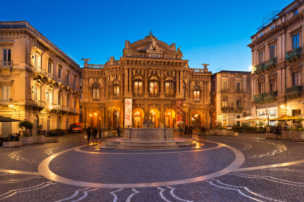 Catania, Italy: View of The Bellini Theater (Teatro Massimo Bellini) in the evening. An Opera House in the famous Sicilian City stock photo