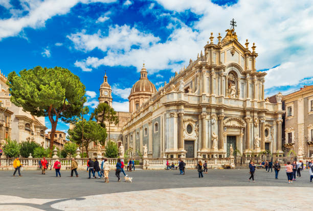 Catania, Italy: View of the Cathedral of Sant'Agata in the historical center of the city stock photo