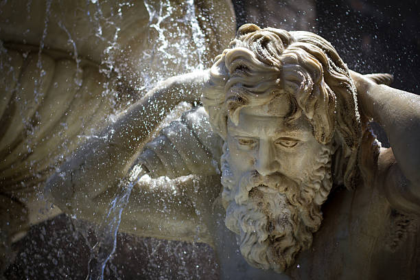 Catania, Sicily: Baroque Amenano Fountain (Close-Up Detail) A detail of the baroque marble Amenano Fountain (built 1867), located in Piazza Duomo in Catania, Sicily. catania stock pictures, royalty-free photos & images