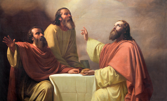 Catania - he detail of painting of Jesu supper with the disciples of Emmaus in church Chiesa di San Placido by Michele Rapisardi (1858).