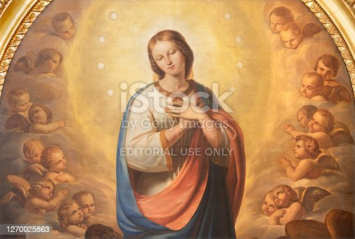 istock Catania - The painting of Immaculate Conception in church in church Chiesa di San Agostino  by Antonio Licata (1820). 1270025863